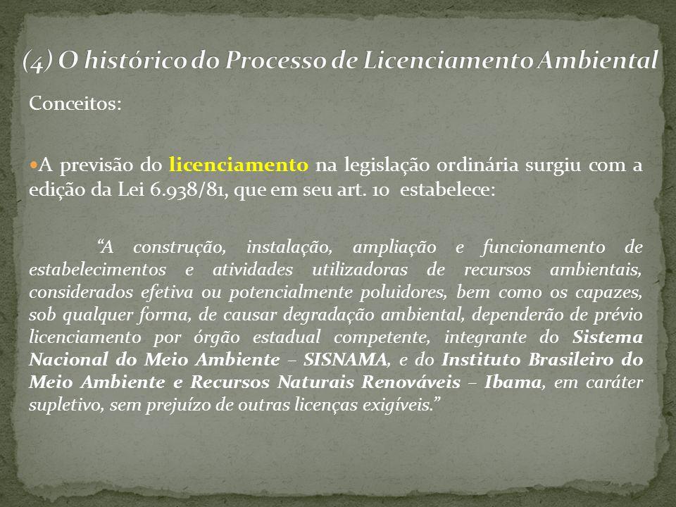 Conceitos: A previsão do licenciamento na legislação ordinária surgiu com a edição da Lei 6.938/81, que em seu art. 10 estabelece: A construção, insta