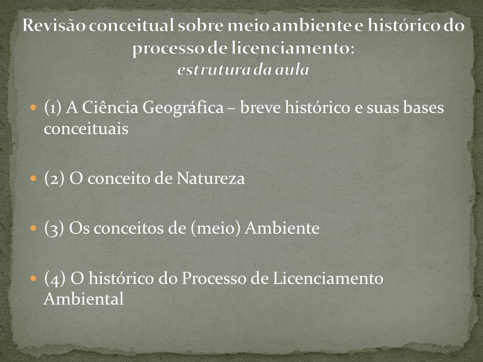 (1) A Ciência Geográfica – breve histórico e suas bases conceituais (2) O conceito de Natureza (3) Os conceitos de (meio) Ambiente (4) O histórico do
