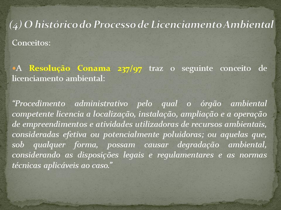 Conceitos: A Resolução Conama 237/97 traz o seguinte conceito de licenciamento ambiental: Procedimento administrativo pelo qual o órgão ambiental comp