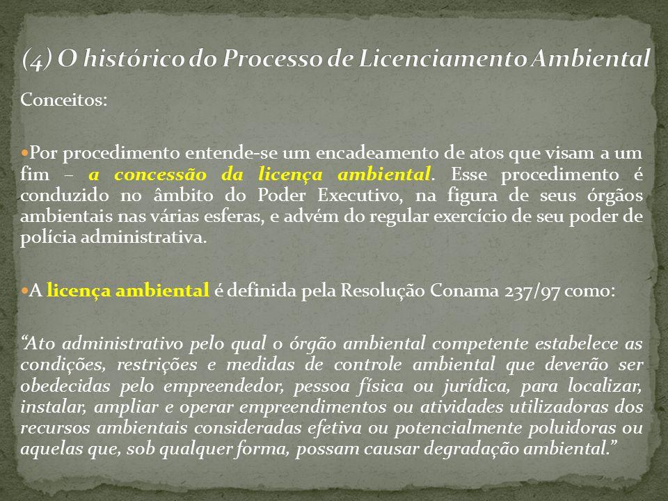 Conceitos: Por procedimento entende-se um encadeamento de atos que visam a um fim – a concessão da licença ambiental. Esse procedimento é conduzido no