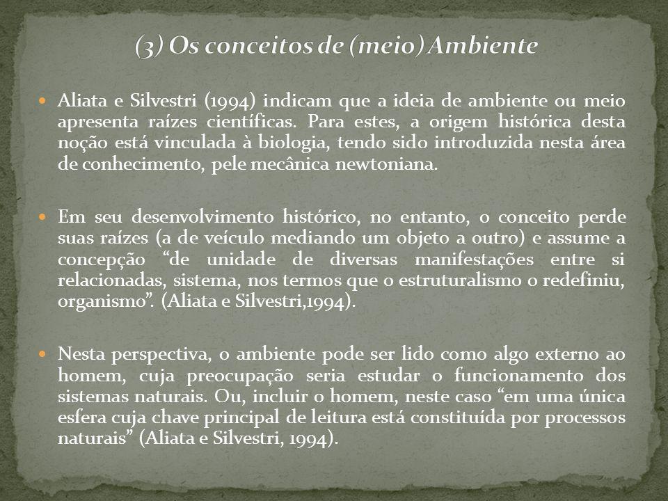 Aliata e Silvestri (1994) indicam que a ideia de ambiente ou meio apresenta raízes científicas. Para estes, a origem histórica desta noção está vincul