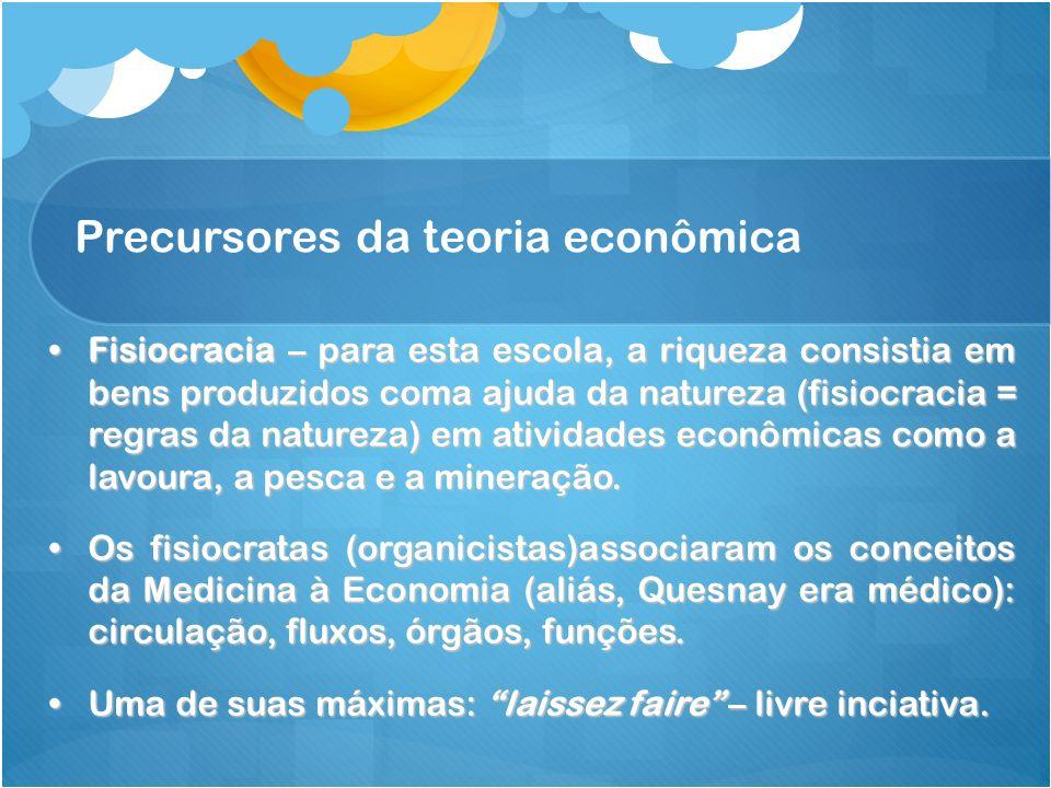 Precursores da teoria econômica Fisiocracia – para esta escola, a riqueza consistia em bens produzidos coma ajuda da natureza (fisiocracia = regras da