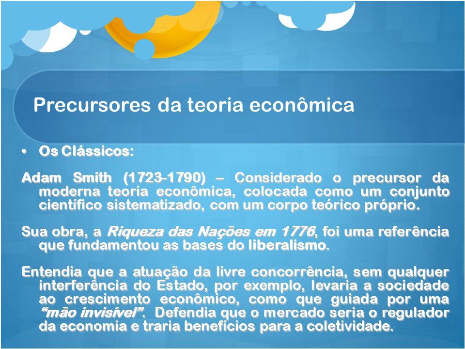 Precursores da teoria econômica Os Clássicos:Os Clássicos: Adam Smith (1723-1790) – Considerado o precursor da moderna teoria econômica, colocada como