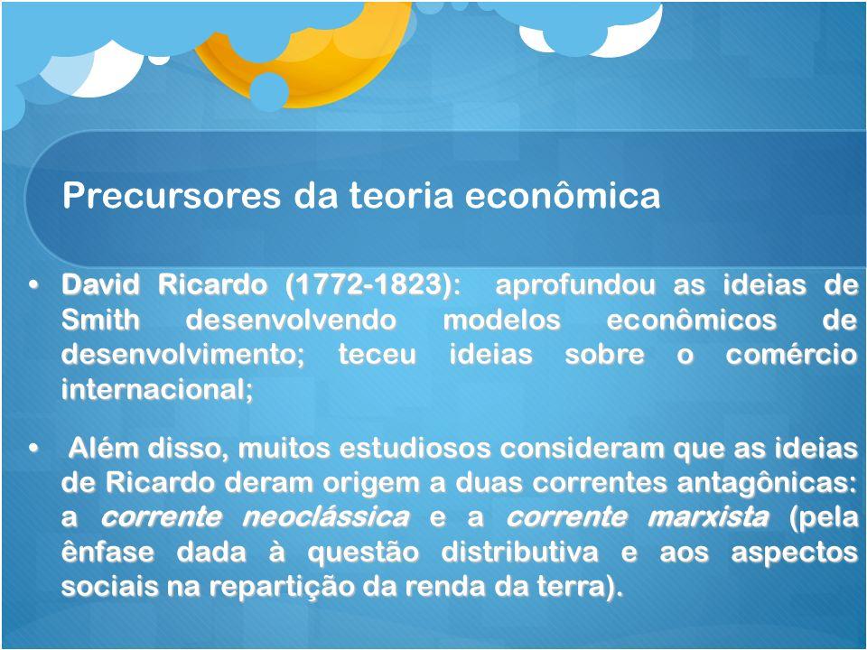 Precursores da teoria econômica David Ricardo (1772-1823): aprofundou as ideias de Smith desenvolvendo modelos econômicos de desenvolvimento; teceu id