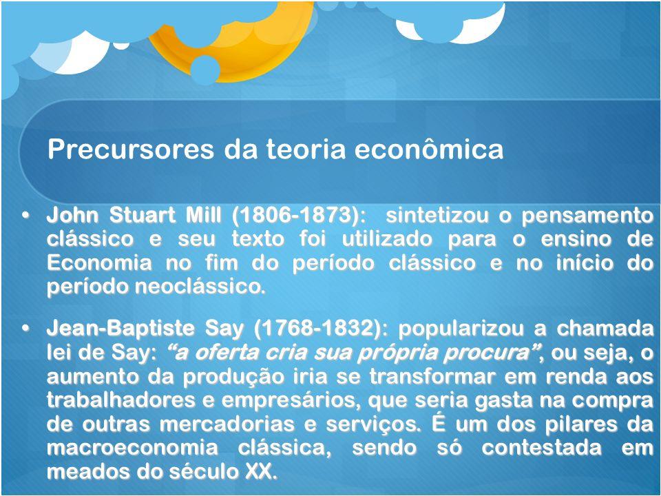 Precursores da teoria econômica John Stuart Mill (1806-1873): sintetizou o pensamento clássico e seu texto foi utilizado para o ensino de Economia no