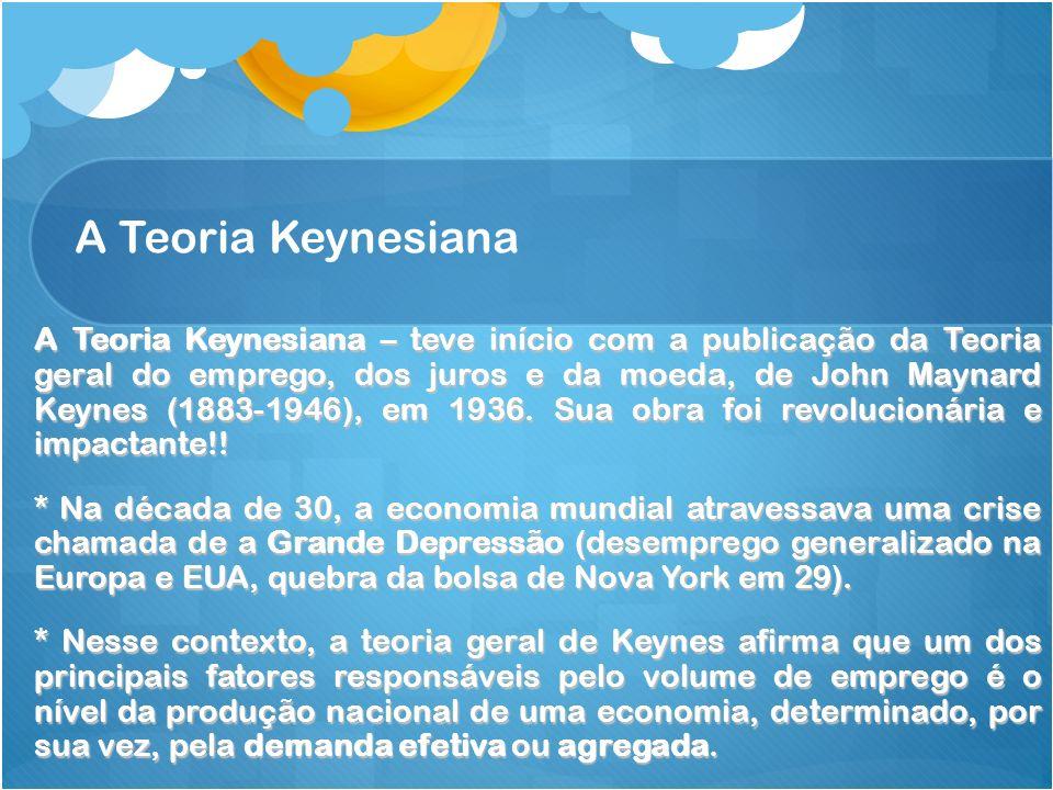 A Teoria Keynesiana A Teoria Keynesiana – teve início com a publicação da Teoria geral do emprego, dos juros e da moeda, de John Maynard Keynes (1883-