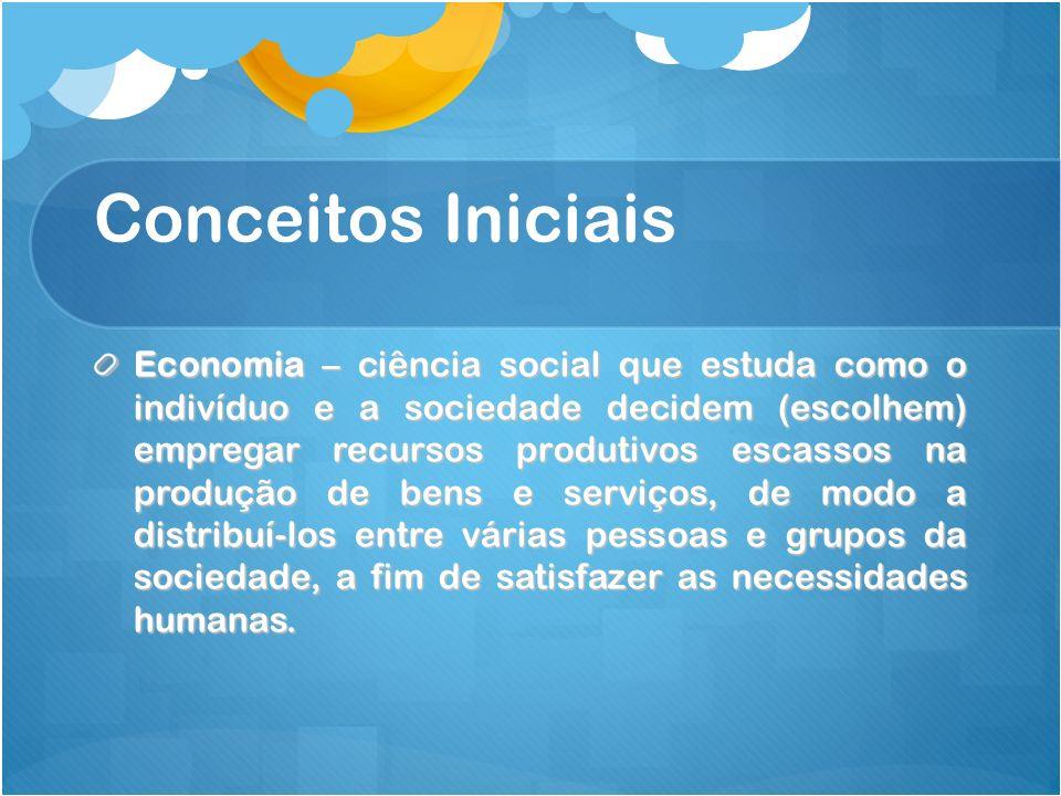 Conceitos Iniciais Economia – ciência social que estuda como o indivíduo e a sociedade decidem (escolhem) empregar recursos produtivos escassos na pro