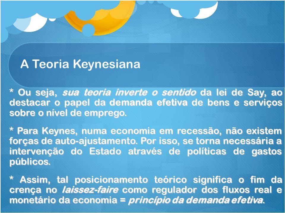 A Teoria Keynesiana * Ou seja, sua teoria inverte o sentido da lei de Say, ao destacar o papel da demanda efetiva de bens e serviços sobre o nível de