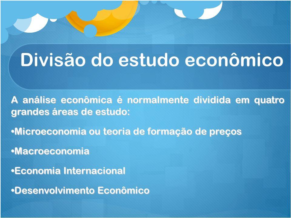 Divisão do estudo econômico A análise econômica é normalmente dividida em quatro grandes áreas de estudo: Microeconomia ou teoria de formação de preço