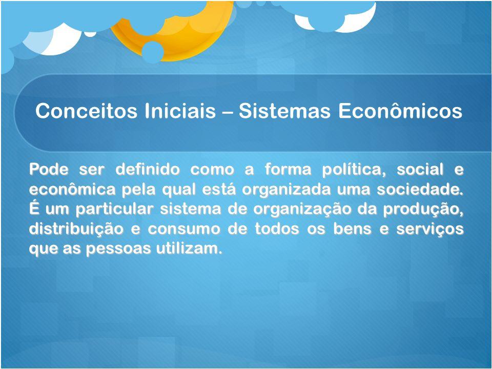 Conceitos Iniciais – Sistemas Econômicos Pode ser definido como a forma política, social e econômica pela qual está organizada uma sociedade. É um par