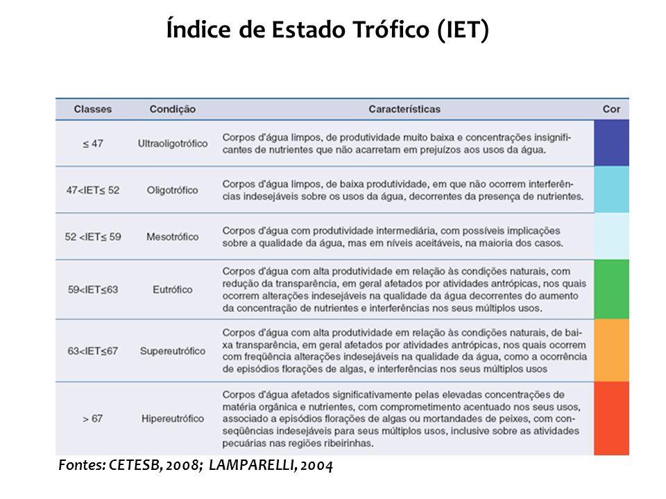 Fontes: CETESB, 2008; LAMPARELLI, 2004
