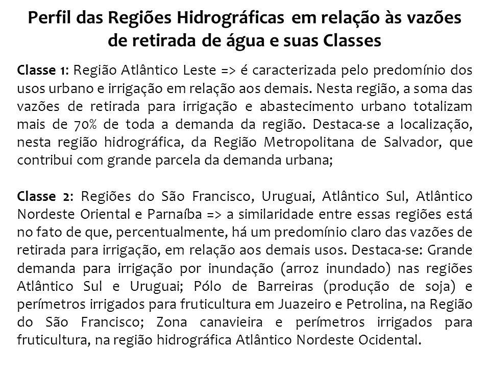 Perfil das Regiões Hidrográficas em relação às vazões de retirada de água e suas Classes Classe 3: Regiões do Paraná e Atlântico Sudeste => nessas regiões predominam os usos industrial, urbano e irrigação em relação aos outros usos, chegando a totalizar mais de 90% da demanda total.
