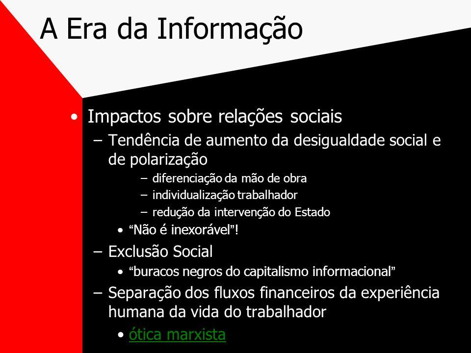 A Era da Informação Impactos sobre relações sociais –Tendência de aumento da desigualdade social e de polarização –diferenciação da mão de obra –indiv