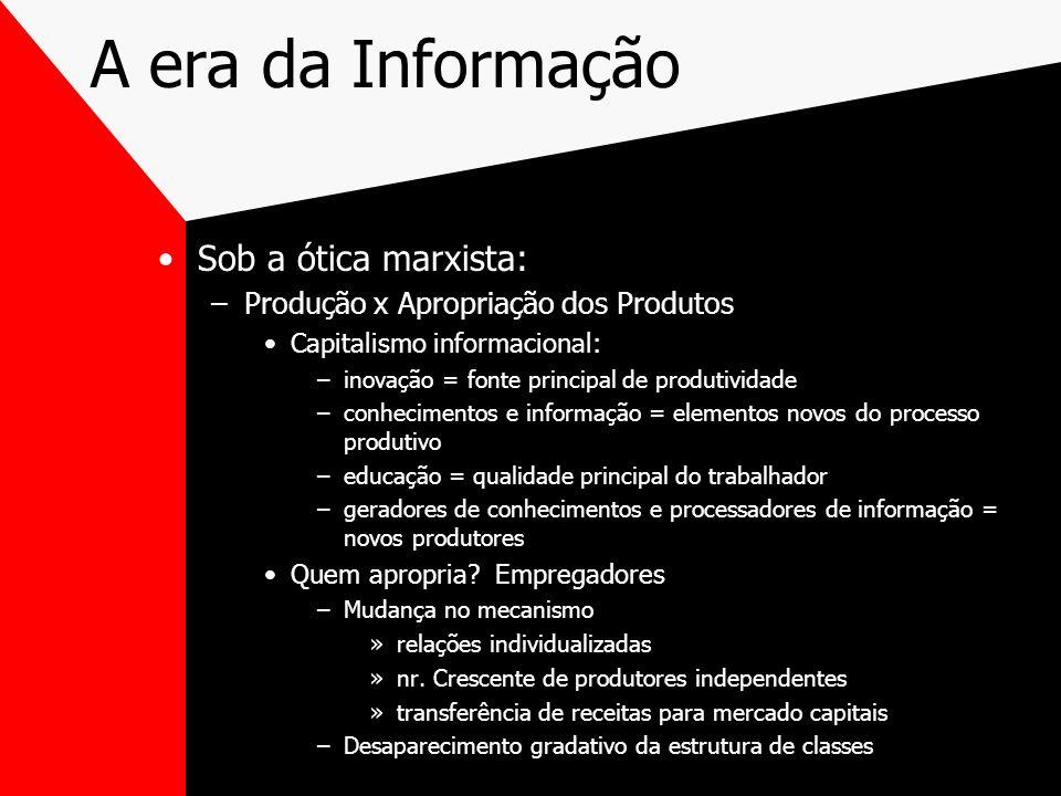 A era da Informação Sob a ótica marxista: –Produção x Apropriação dos Produtos Capitalismo informacional: –inovação = fonte principal de produtividade