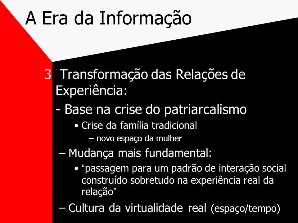A Era da Informação 3 Transformação das Relações de Experiência: - Base na crise do patriarcalismo Crise da família tradicional –novo espaço da mulher