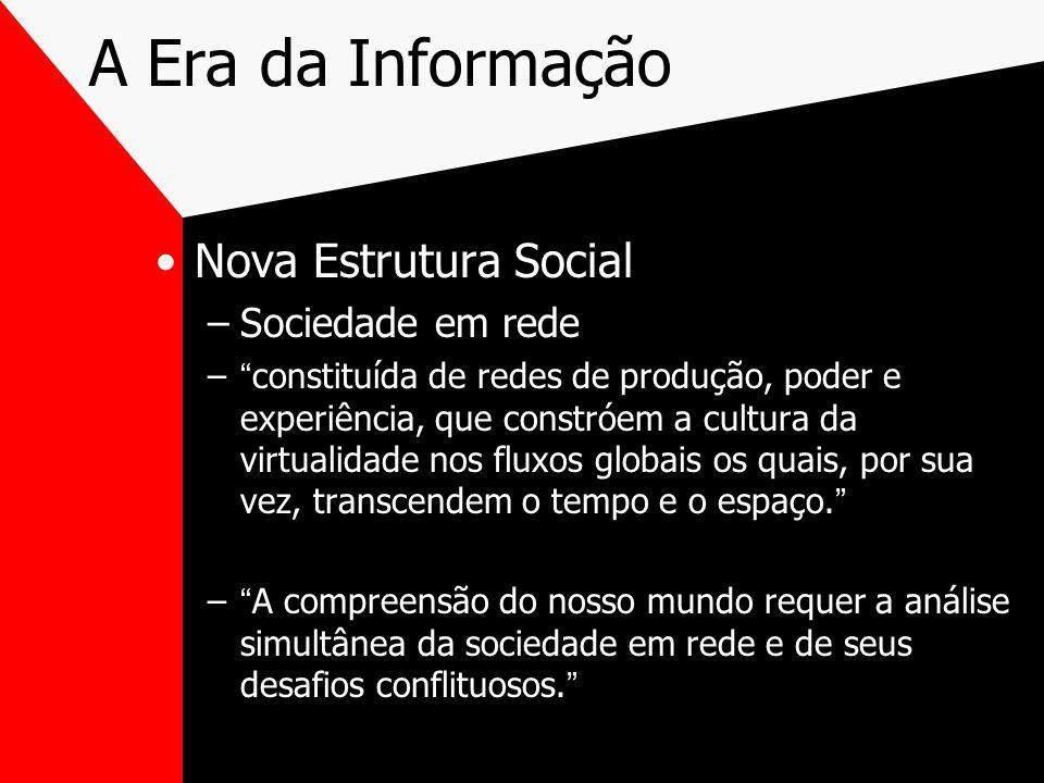 A Era da Informação Nova Estrutura Social –Sociedade em rede –constituída de redes de produção, poder e experiência, que constróem a cultura da virtua
