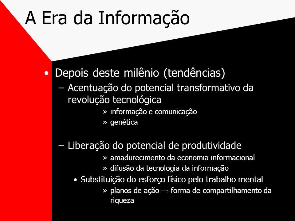 A Era da Informação Depois deste milênio (tendências) –Acentuação do potencial transformativo da revolução tecnológica »informação e comunicação »gené