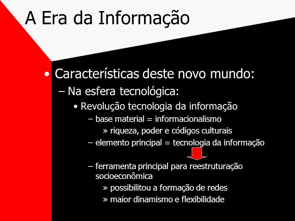 Características deste novo mundo: –Na esfera tecnológica: Revolução tecnologia da informação –base material = informacionalismo »riqueza, poder e códi
