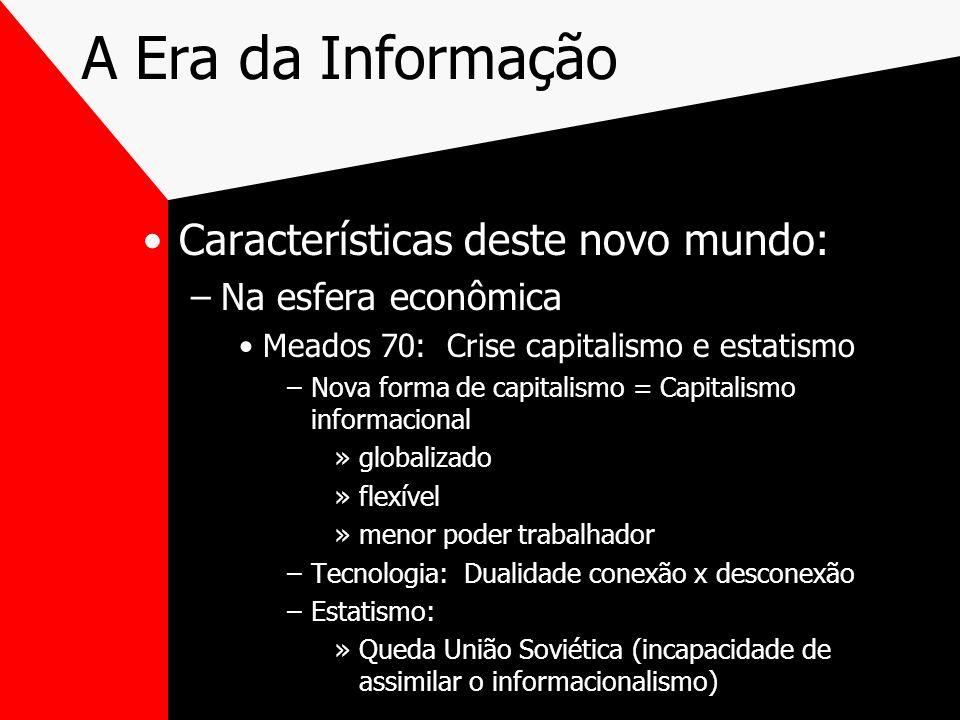 A Era da Informação Características deste novo mundo: –Na esfera econômica Meados 70: Crise capitalismo e estatismo –Nova forma de capitalismo = Capit