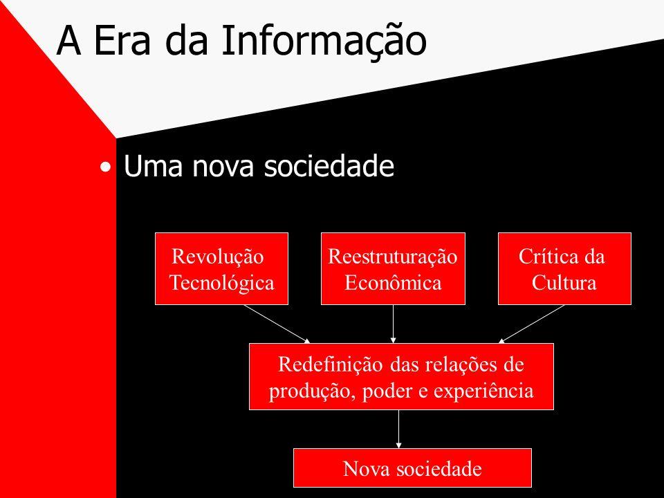 A Era da Informação Uma nova sociedade Revolução Tecnológica Reestruturação Econômica Crítica da Cultura Redefinição das relações de produção, poder e