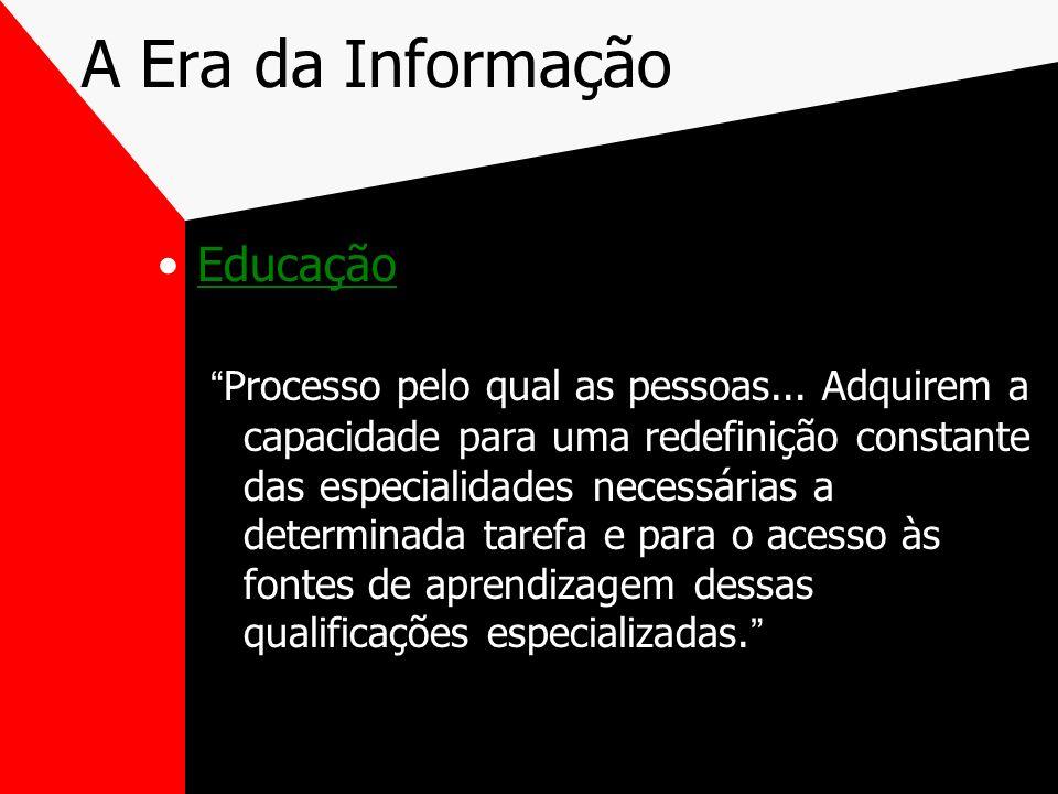 A Era da Informação Educação Processo pelo qual as pessoas... Adquirem a capacidade para uma redefinição constante das especialidades necessárias a de