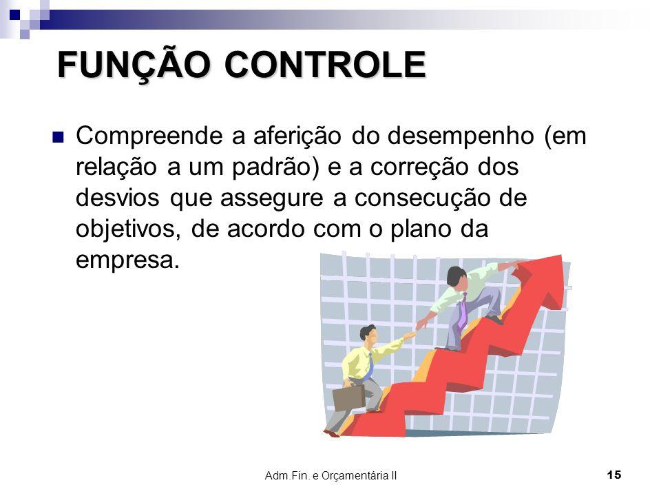 Adm.Fin. e Orçamentária II 15 FUNÇÃO CONTROLE Compreende a aferição do desempenho (em relação a um padrão) e a correção dos desvios que assegure a con
