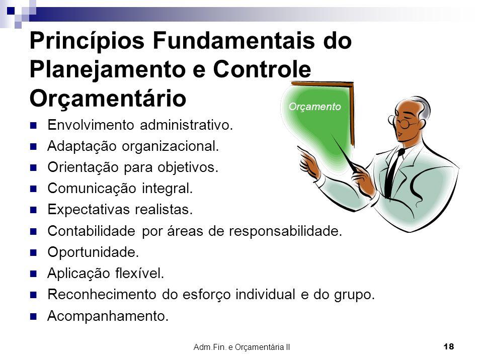 Adm.Fin. e Orçamentária II 18 Princípios Fundamentais do Planejamento e Controle Orçamentário Envolvimento administrativo. Adaptação organizacional. O