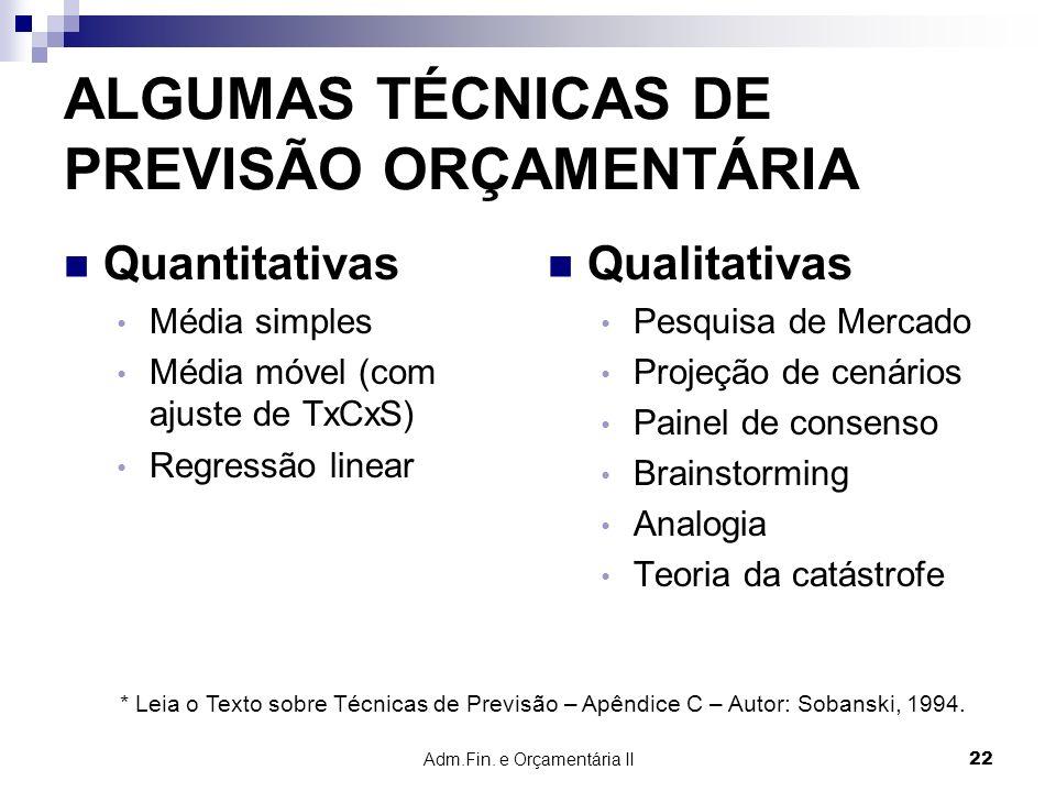 Adm.Fin. e Orçamentária II 22 ALGUMAS TÉCNICAS DE PREVISÃO ORÇAMENTÁRIA Quantitativas Média simples Média móvel (com ajuste de TxCxS) Regressão linear