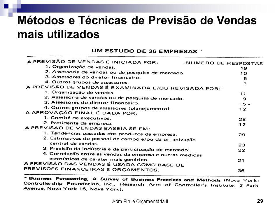 Adm.Fin. e Orçamentária II 29 Métodos e Técnicas de Previsão de Vendas mais utilizados