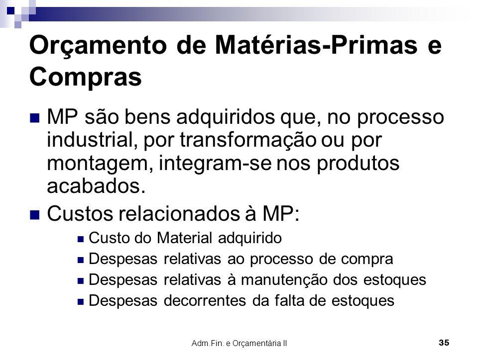 Adm.Fin. e Orçamentária II 35 Orçamento de Matérias-Primas e Compras MP são bens adquiridos que, no processo industrial, por transformação ou por mont