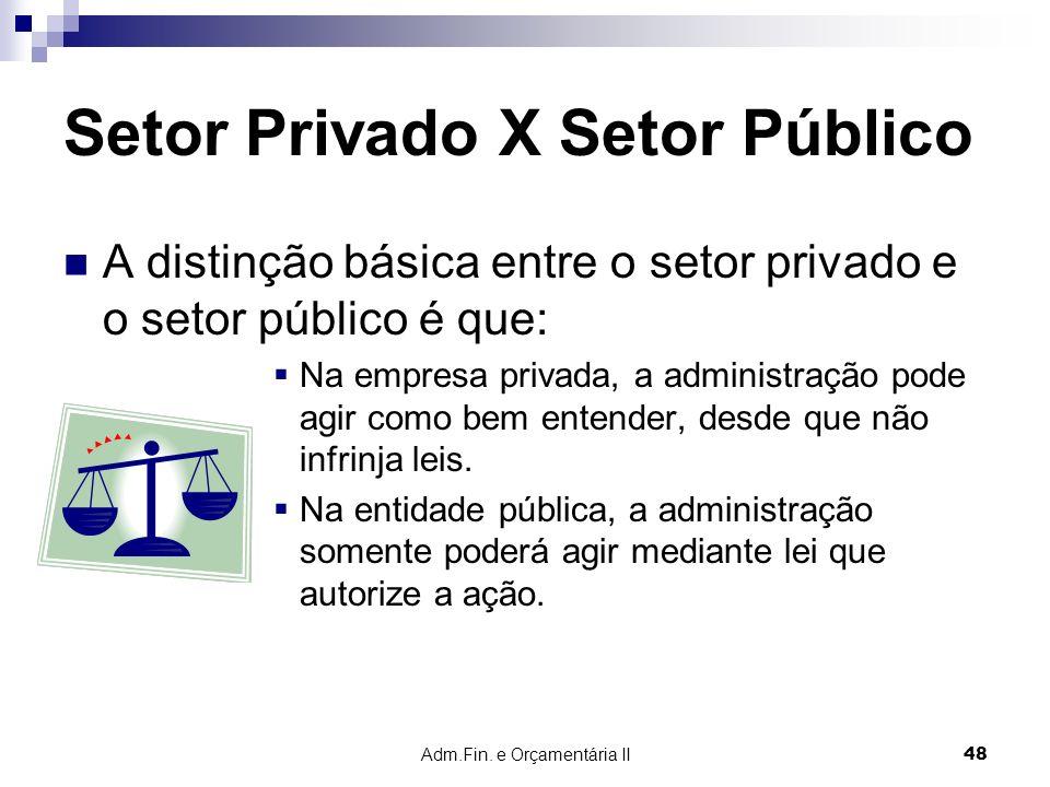 Adm.Fin. e Orçamentária II 48 Setor Privado X Setor Público A distinção básica entre o setor privado e o setor público é que: Na empresa privada, a ad