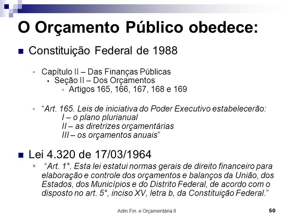 Adm.Fin. e Orçamentária II 50 O Orçamento Público obedece: Constituição Federal de 1988 Capítulo II – Das Finanças Públicas Seção II – Dos Orçamentos