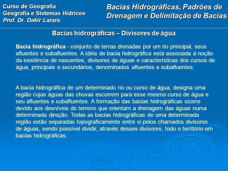 Curso de Geografia Geografia e Sistemas Hídricos Prof. Dr. Dakir Larara Bacias hidrográficas – Divisores de água Bacia hidrográfica - conjunto de terr