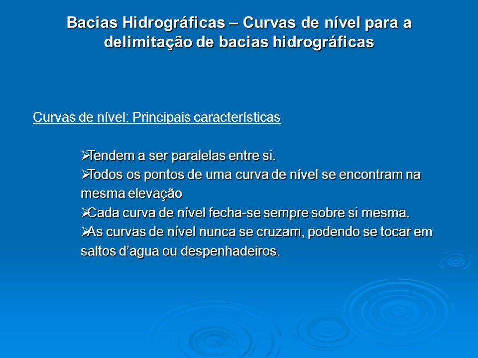 Bacias Hidrográficas – Curvas de nível para a delimitação de bacias hidrográficas Curvas de nível: Principais características Tendem a ser paralelas e