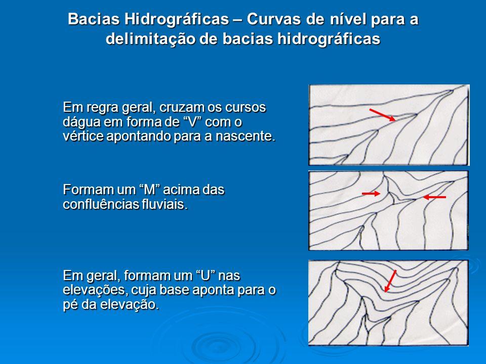 Bacias Hidrográficas – Curvas de nível para a delimitação de bacias hidrográficas Em regra geral, cruzam os cursos dágua em forma de V com o vértice a