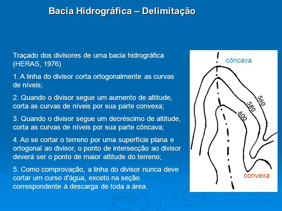 Bacia Hidrográfica – Delimitação Traçado dos divisores de uma bacia hidrográfica (HERAS, 1976) 1. A linha do divisor corta ortogonalmente as curvas de