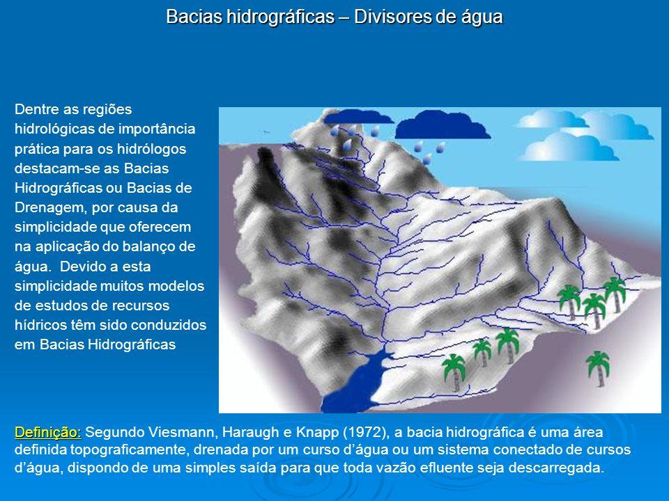 Bacias hidrográficas – Divisores de água Dentre as regiões hidrológicas de importância prática para os hidrólogos destacam-se as Bacias Hidrográficas