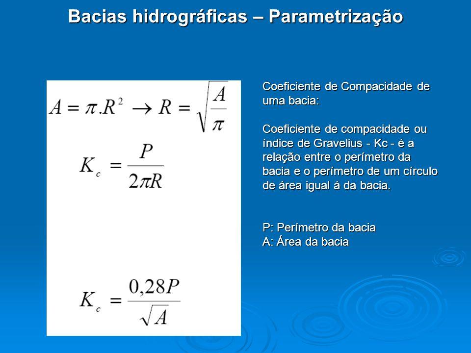 Bacias hidrográficas – Parametrização Coeficiente de Compacidade de uma bacia: Coeficiente de compacidade ou índice de Gravelius - Kc - é a relação en