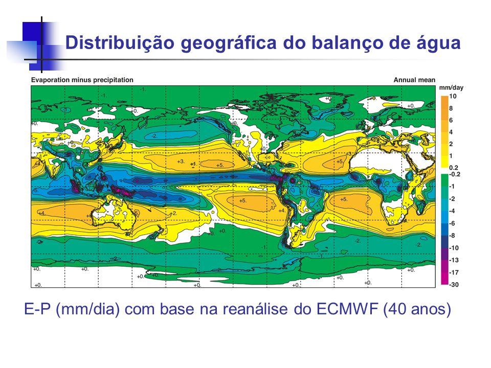 Distribuição geográfica do balanço de água E-P (mm/dia) com base na reanálise do ECMWF (40 anos)