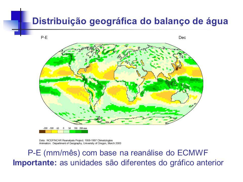 Distribuição geográfica do balanço de água P-E (mm/mês) com base na reanálise do ECMWF Importante: as unidades são diferentes do gráfico anterior