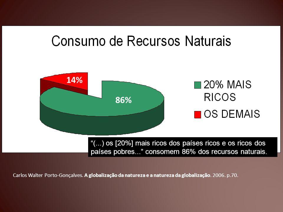 Carlos Walter Porto-Gonçalves. A globalização da natureza e a natureza da globalização. 2006. p.70. (...) os [20%] mais ricos dos países ricos e os ri