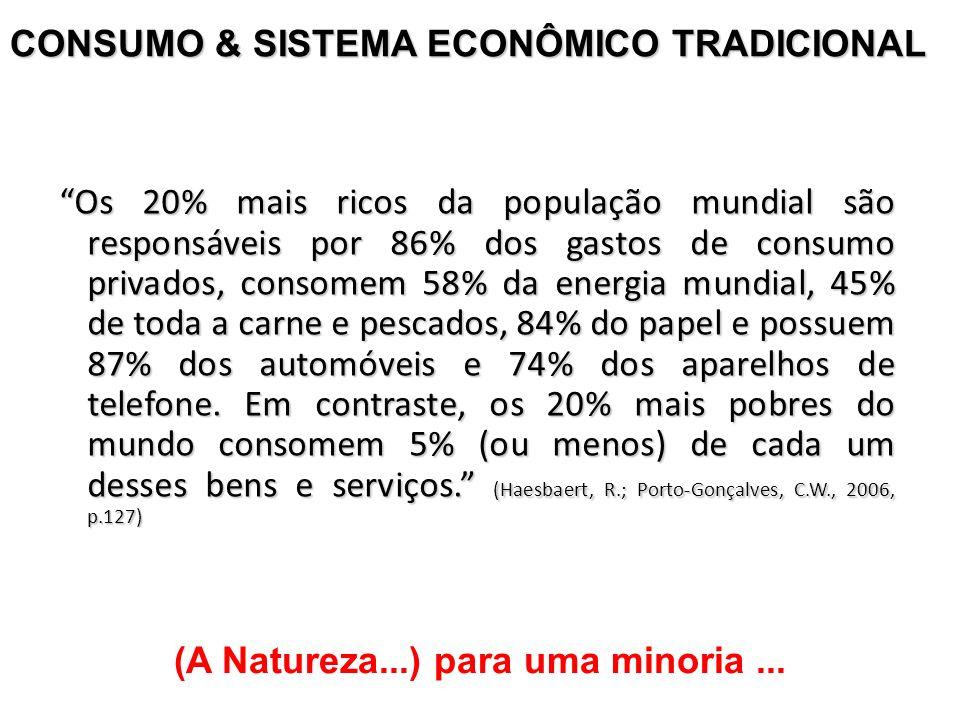 CONSUMO & SISTEMA ECONÔMICO TRADICIONAL Os 20% mais ricos da população mundial são responsáveis por 86% dos gastos de consumo privados, consomem 58% d