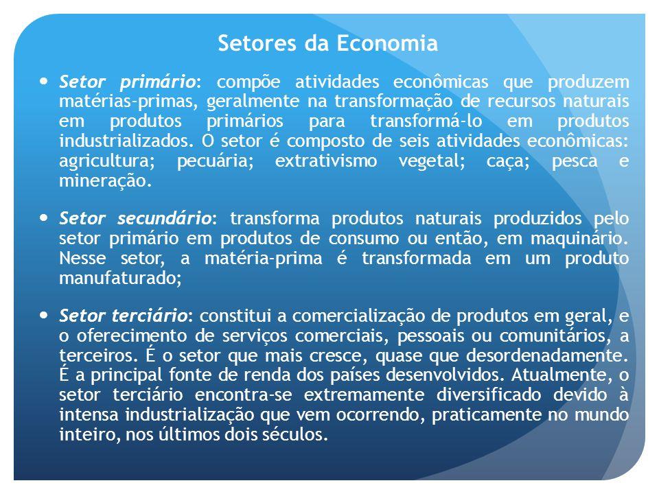 Setores da Economia Setor primário: compõe atividades econômicas que produzem matérias-primas, geralmente na transformação de recursos naturais em pro