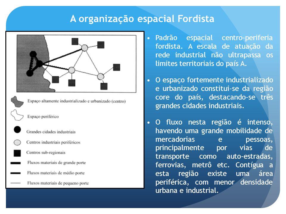 A organização espacial Fordista Padrão espacial centro-periferia fordista. A escala de atuação da rede industrial não ultrapassa os limites territoria
