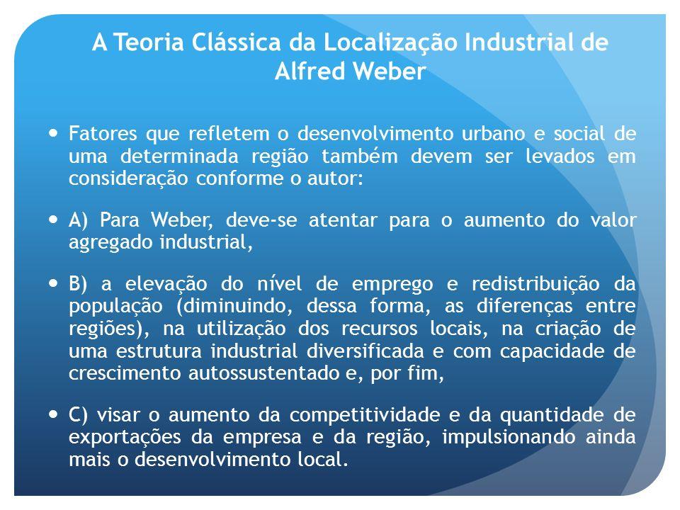 A Teoria Clássica da Localização Industrial de Alfred Weber Fatores que refletem o desenvolvimento urbano e social de uma determinada região também de