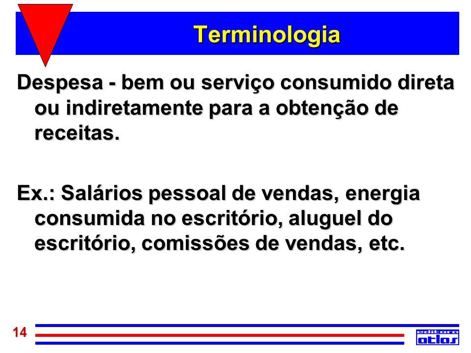 14 Terminologia Despesa - bem ou serviço consumido direta ou indiretamente para a obtenção de receitas. Ex.: Salários pessoal de vendas, energia consu