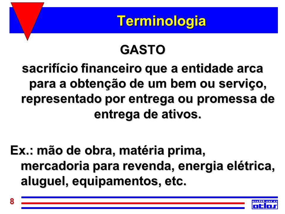 8 Terminologia GASTO sacrifício financeiro que a entidade arca para a obtenção de um bem ou serviço, representado por entrega ou promessa de entrega d