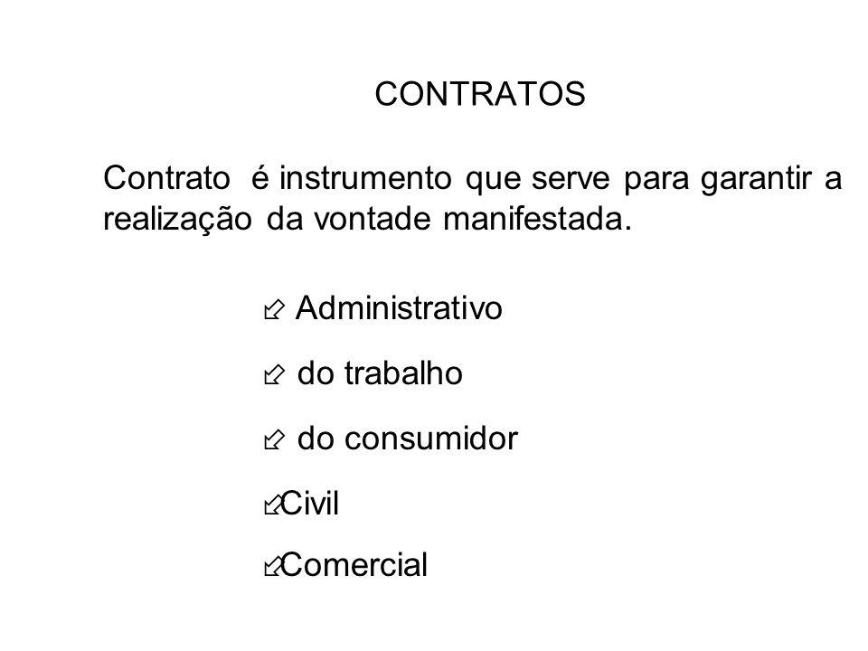 CONTRATOS Contrato é instrumento que serve para garantir a realização da vontade manifestada. Administrativo do trabalho do consumidor ÷Civil ÷Comerci