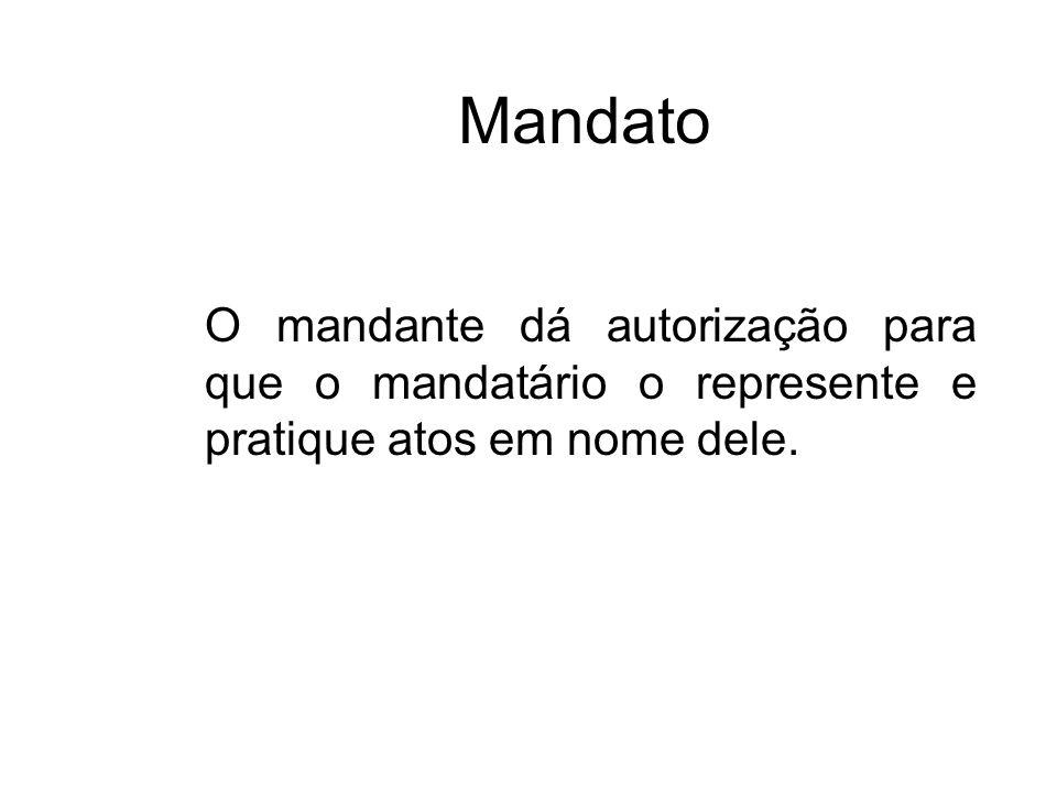 Mandato O mandante dá autorização para que o mandatário o represente e pratique atos em nome dele.