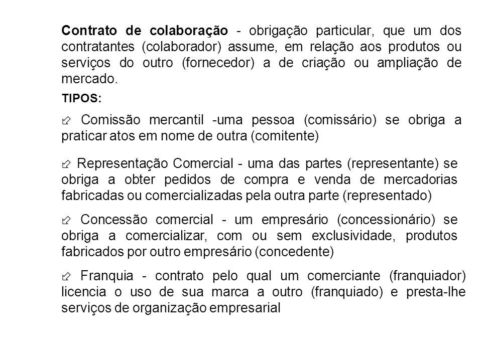 Contrato de colaboração - obrigação particular, que um dos contratantes (colaborador) assume, em relação aos produtos ou serviços do outro (fornecedor